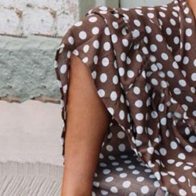 Coffee Polka Dots Round Neck Casual Maxi Dresses