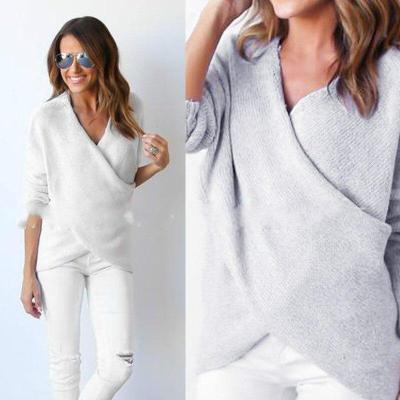 Sweater V-neck chest crisscross long-sleeved pullover sweater loose irregular sweater women sweaters pullover knitted sweater