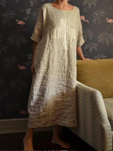 Paneled Cotton-Blend Crew Neck Casual Dresses
