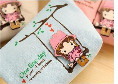 Printed Canvas Bag Coin Bag Super Cute Little Girl Cute Swing Zero Wallet