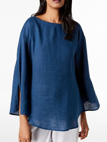 Plus Size Solid Casual 3/4 Sleeve Tops