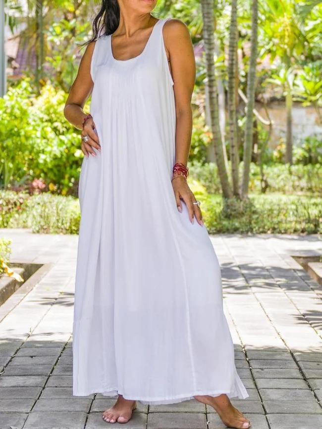 Soft Cotton Square Neck Long Dress