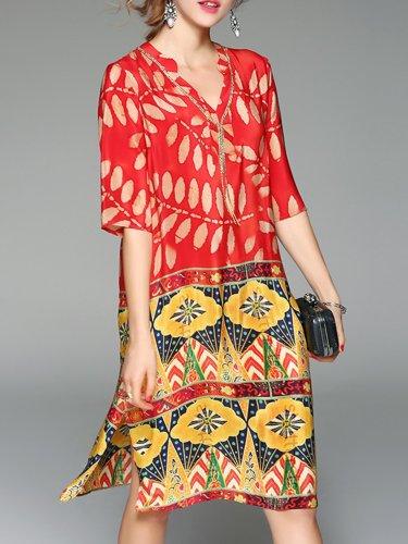 Multicolor Casual Shift Midi Plus Size Dress