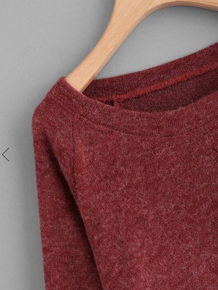 Cony Hair Wool Blend Pockets Round Neck Long Sleeve Sweaters