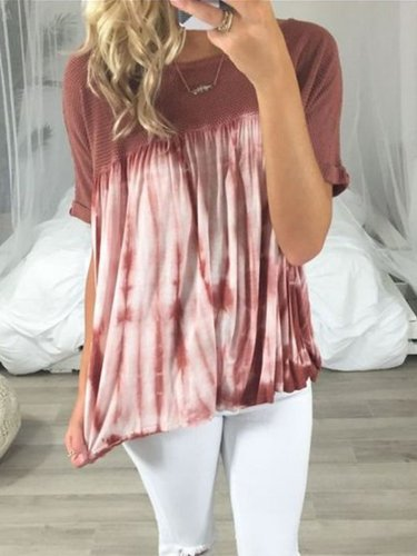 Red Patchwork Round Neck Cotton-Blend Short Sleeve Shirts & Tops
