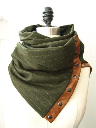 Olive Green Stripes Scarves & Shawls