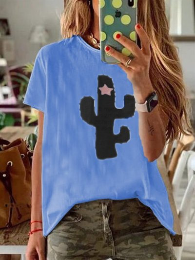 Short Sleeve Cotton-Blend Printed Shirts & Tops