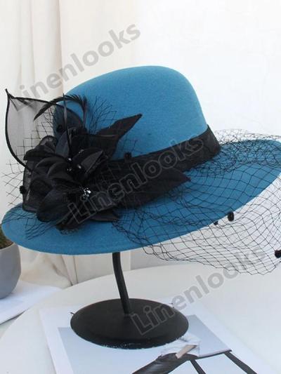 Vintage Mesh Flower Felt Hat