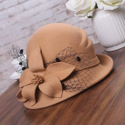 Flower Warm Wool Hat Winter Cap Lady Party Hats