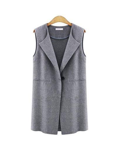 Lapel Sleeveless Casual Coat