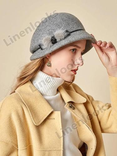 Woolen Hat Ladies Elegant Felt Hat Fisherman Hat