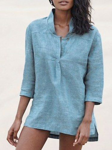Blue Stand Collar Cotton-Blend Solid Casual Shirts & Tops