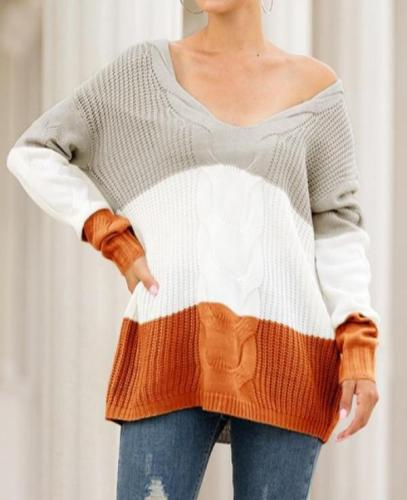 Autumn and Winter Women's Knit Sweater V-neck Strapless Twist Color Pullover Sweater Sweaters Sweater Pullovers