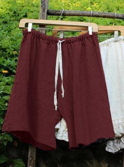 Women Lace Up Elastic Waistband Shorts Linen Bloomers