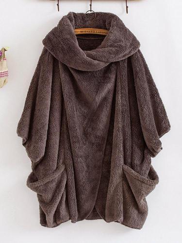 Casual Women Turtleneck Big Pockets Cloak Coats