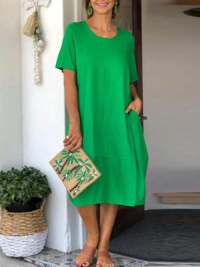 Green Casual Cotton-Blend Dresses