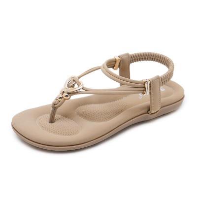 Women Gladiator Flats Sandals Shoes Crystal Bead Metal Flip Flop Beach Sandals