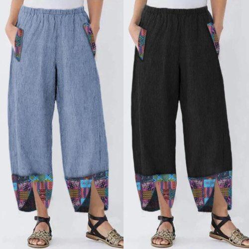 Women High Waist Pants Casual Print Wide Leg Vintage Loose Oversize Pockets Elastic Waist Autunm Spring Joggers