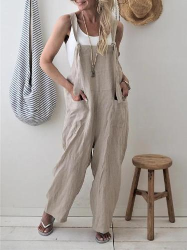 Cotton Pockets Casual Sleeveless Boyfriend Jumpsuits
