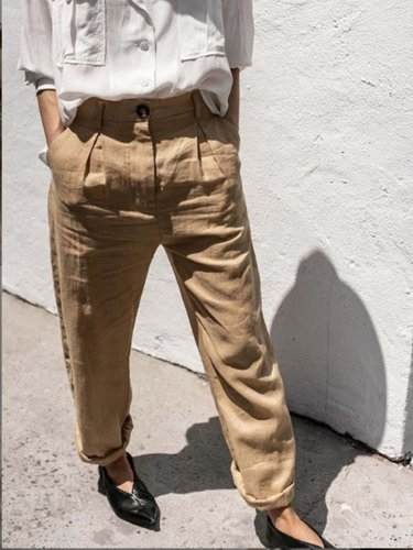 Brown Casual Cotton-Blend Plain Pants