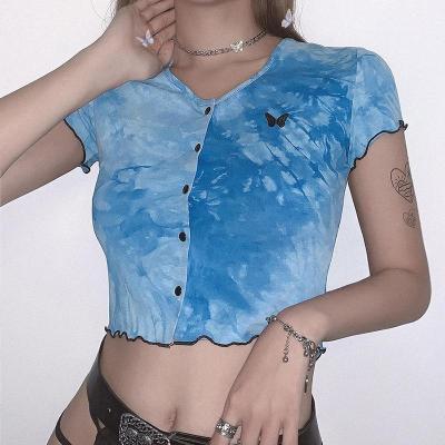 Women Tie Dye T Shirt Butterfly Embroidery Cardigan Summer Crop Top