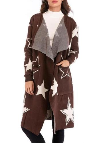 Loose Star Pattern Knitted Cardigan Long Coat