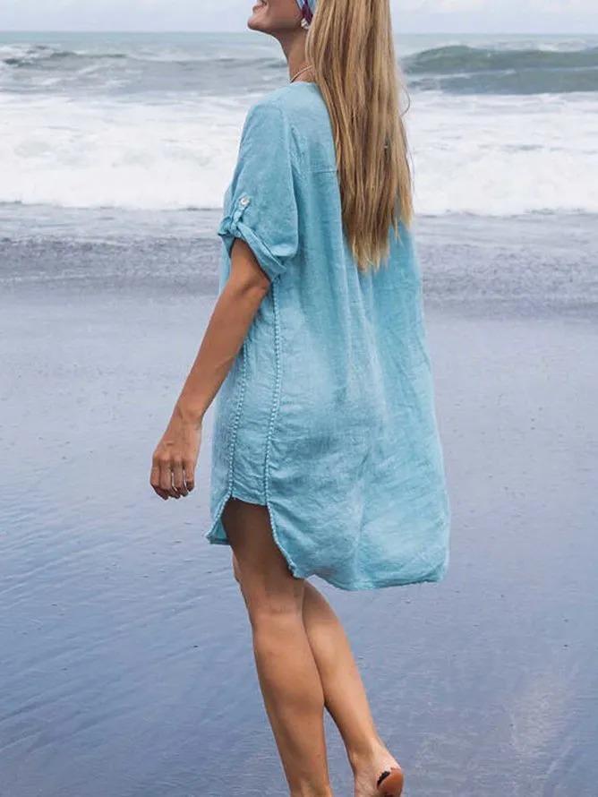 Light Blue Short Sleeve Solid Cotton V Neck Dresses