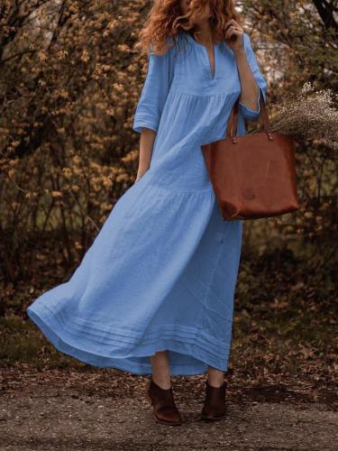 Plus Size Solid Casual Pockets V Neck Half Sleeve Dresses