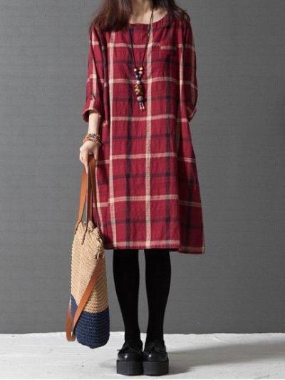 Long Sleeve Women Loose Linen Cotton Plaid Casual Dress