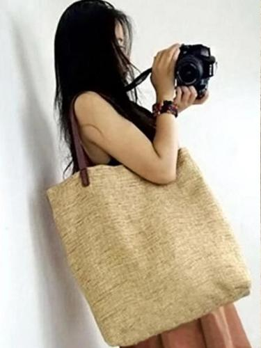 4 Colors Simple Literature Linen Shoulder Bag