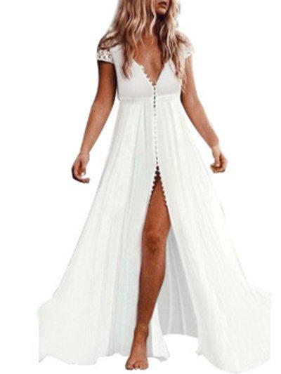 White Sexy Short Sleeve Maxi Dresses