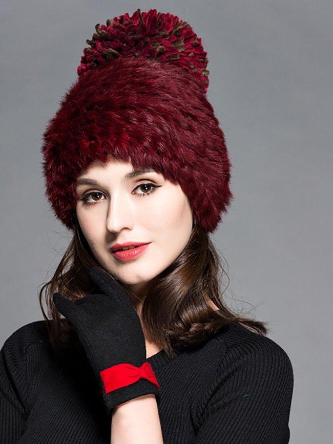 Faux Fur  Double-layer Warm Knit Hats