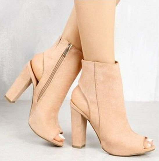 Nude Spring/Fall Zipper Daily Suede Plus Size Chunky Heel Boots