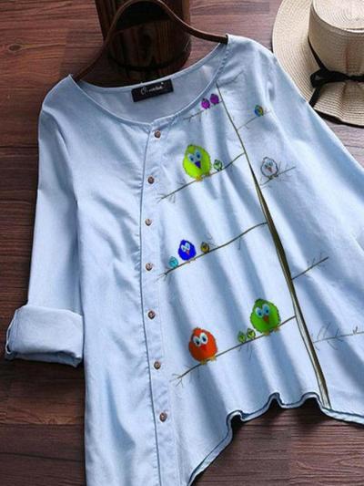Blue Cotton-Blend Bird Vintage Shirts & Tops