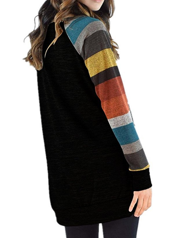 Round Neck Casual Striped Cotton Blouse & Shirts