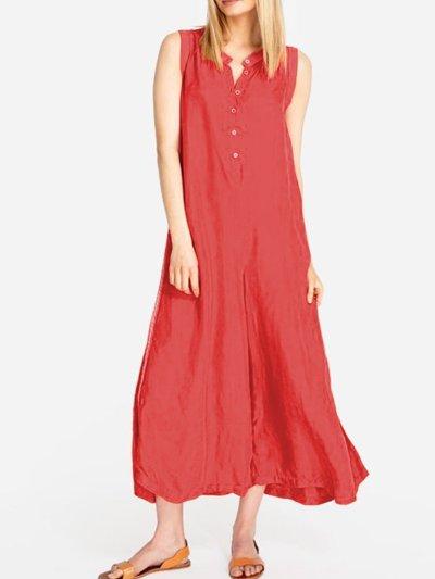 Solid Sleeveless Linen Dresses