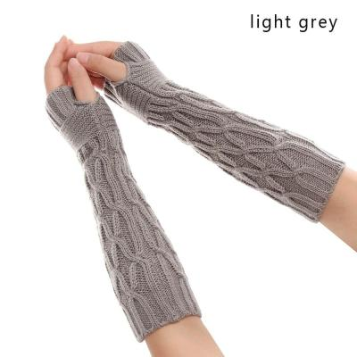 Casual Winter Knitted Fingerless Gloves Unisex Semi-Long Gloves