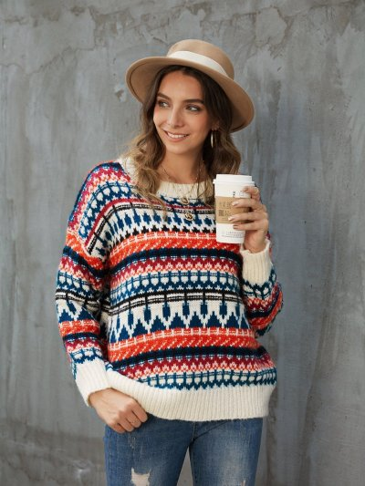White Casual Tribal Sweater