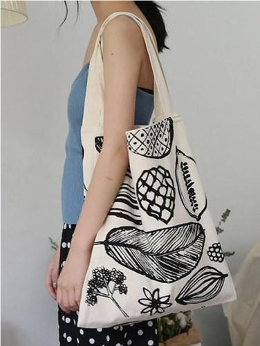 Simple Printed Big Leaf Canvas Bag