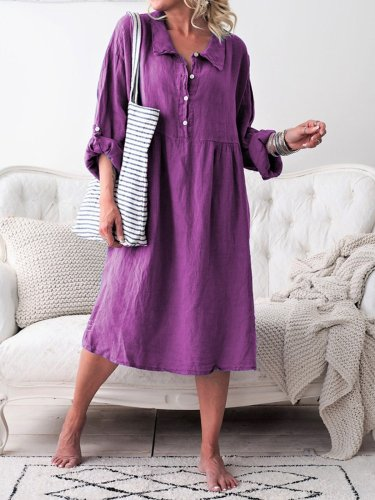 Women Casual Summer Dress Convertible Long Sleeves Buttoned Loose Dresses