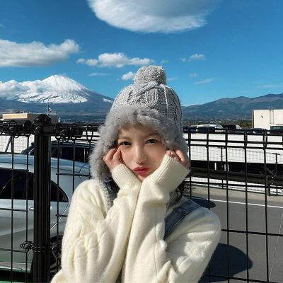 Cute Woolen Cap Women's Autumn and Winter Earmuffs Fur Ball Real Rabbit Fur Knitted Hat