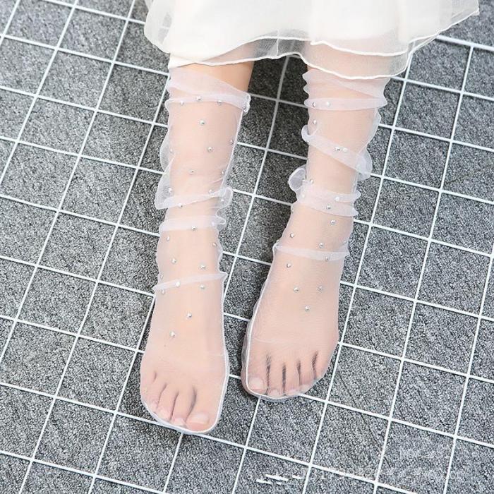 Polka Dot Fashion Women's Socks Star Mesh Stocking