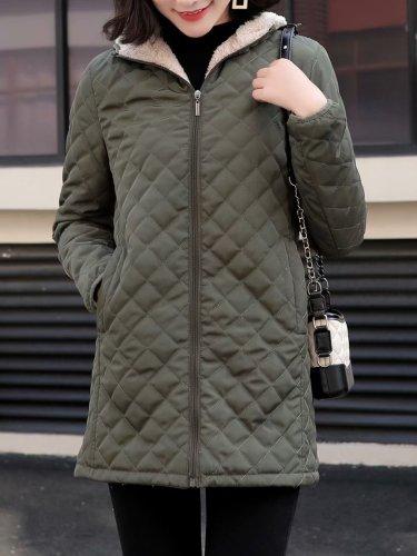 Warm Lined Zipper Pockets Hoodie Coats