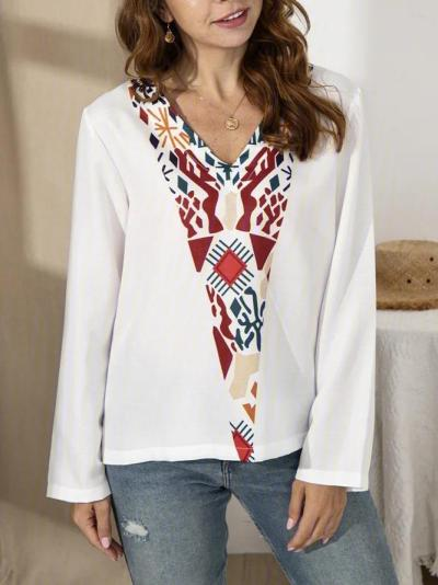 Casual Floral V Neck Shirts & Tops
