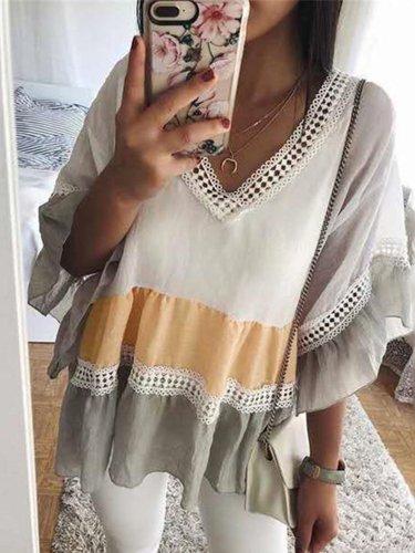 Sexy V Neck Cotton-Blend Shirts & Tops
