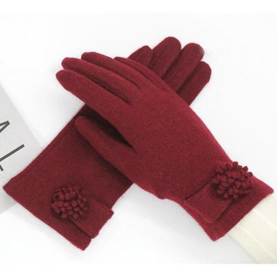 Fashion Elegant Female Wool Knit Touch Screen Gloves Winter Women Keep Warm Cashmere Full Finger Gloves