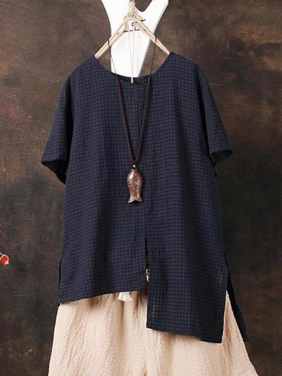Short Sleeve Plaid Cotton-Blend Shirts & Tops