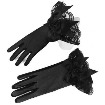Evening Party Women Gloves Romantic Prom Lace Trim Bowknot Gloves