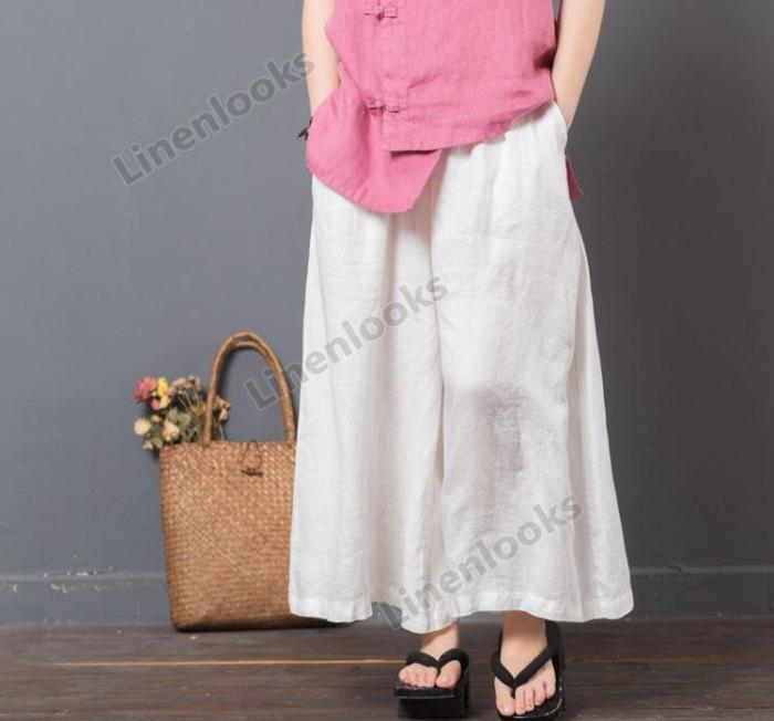 Spring Summer Elastic Waist Solid Color Cotton Linen Loose Casual Women Pants Trousers