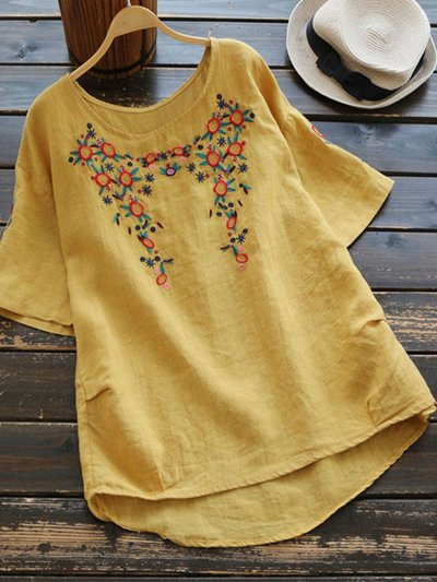 Short Sleeve Round Neck Embroidered Shirts & Tops